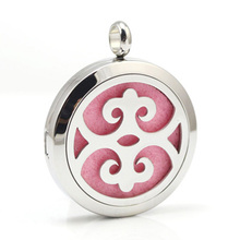 316L Stainless Steel 30MM Chinese Elements Perfume Locket Essential Oil Diffuser Locket Pendant 5Pcs/Lots