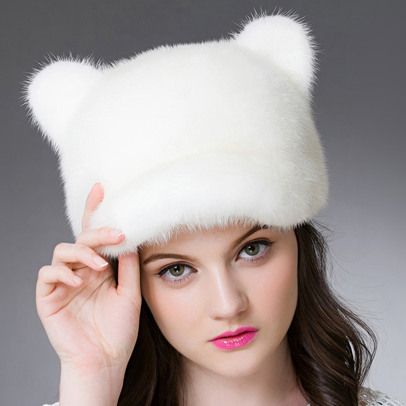 Mink Fur cat ears cap winter fur hat for women fashion warm hat six colors female knitting wool hat womensОдежда и ак�е��уары<br><br><br>Aliexpress