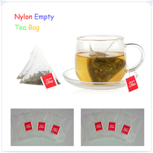 1000pcs/lot Large Nylon Empty Pyramid Tea Bag Tea Infuser New Tea Strainer Teabags With the Tag 6.5 * 8cm