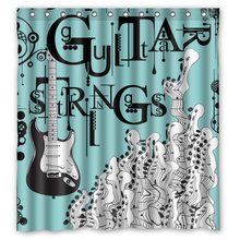 Music Note Guitar Strings Customize Bath Unique Waterproof Shower Curtain Bathroom Products Curtains 48x72, 60x72, 66x 72 inches(China)