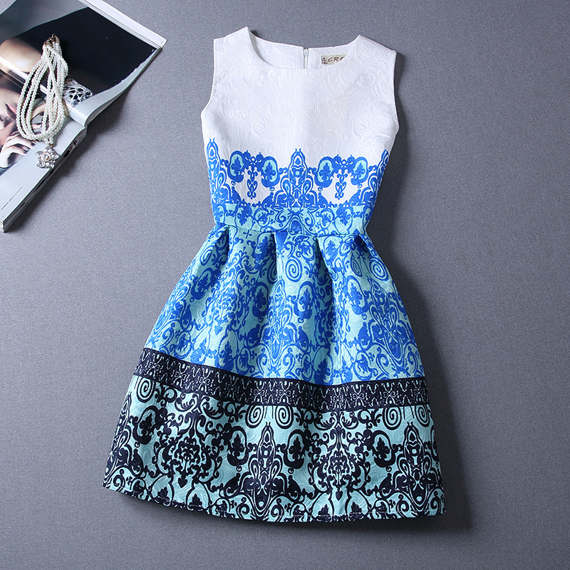 New Girls Formal Dresses Teenager Flower Print Sleeveless Vest Party Dress Slim Kids Costume Clothes Vestido De Festa Menina<br><br>Aliexpress