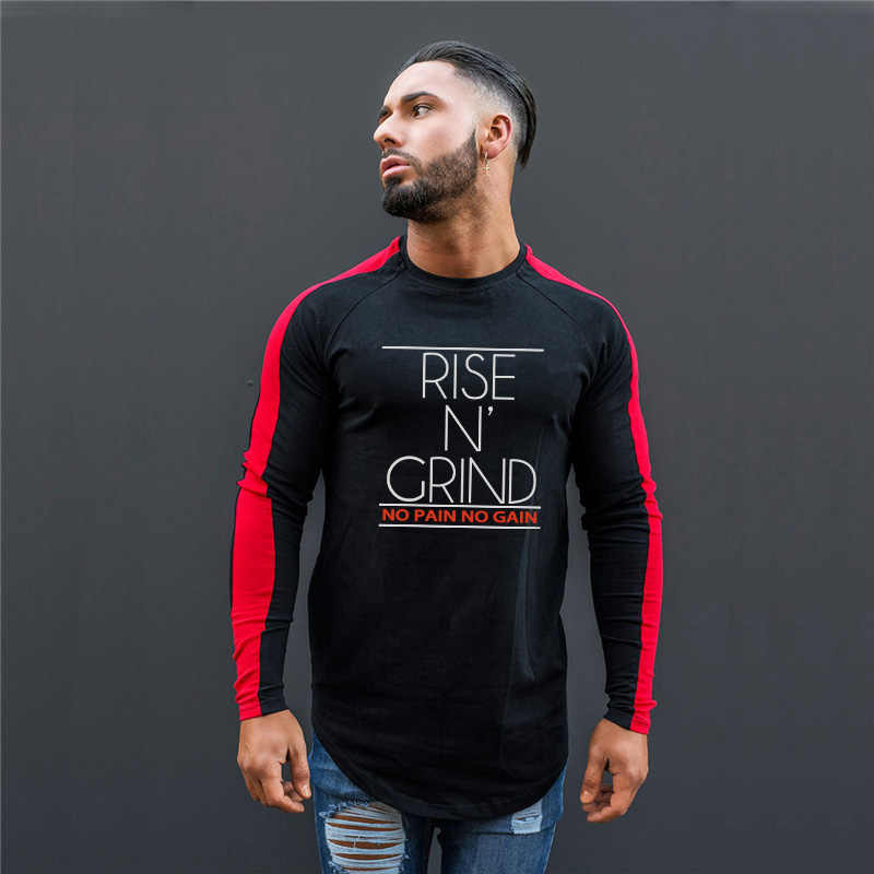 66751504a1f Muscleguys Hot 2019 New Spring Fashion O-Neck Slim Fit Long Sleeve T Shirt  Men
