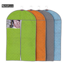 Window Non Woven Cover Suit Coat Dress Jacket Dust Cover Clothing Storage Bag Protector Hanger Wardrobe Clothing Cover Organizer