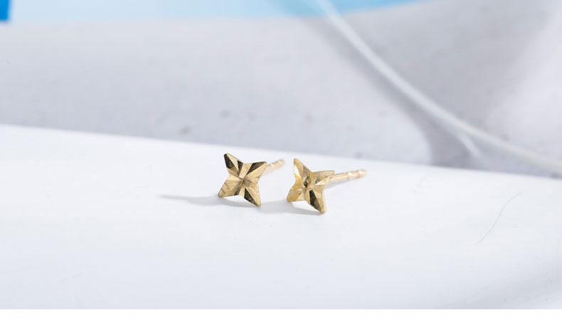 HTB1yNw5RXXXXXX2apXXq6xXFXXXA - SILVER AGELESS 9K Yellow Gold Rhombus Stud Earrings for Women Fine Jewelry 2017 New Arrival