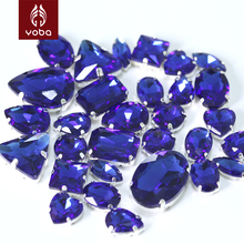 50Pcs Sapphire Cobalt Mixed Shapes Mixed Sizes Sew On Claw Rhinestone Glass Crystals Sewing Stone For Clothes Decoration Y3509(China)