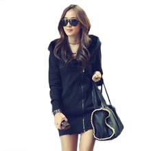 The new Korean female personality oblique zipper hooded long sleeved 2017 sweatshirts cashmere coat thick lamb 7017