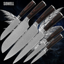 Chef slicing 2*sanotku utility paring stainless steel kitchen knives Damascus wave pattern blade razor sharp edge cooking tools(China)