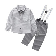 Kids Clothing Sets fashion girls Bow Tie Shirt+Bib pants Baby suit clothes set 2pcs(China)
