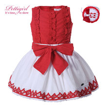 Pettigirl Red Girl Clothing Set Cotton Vest With Bow And  White Lace Skirt Hairband Boutique Outfit Children Clothes 1331