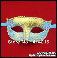 New Arrival Wholesale Free Shipping Light Blue And Gold Venetian Masquerade Mask