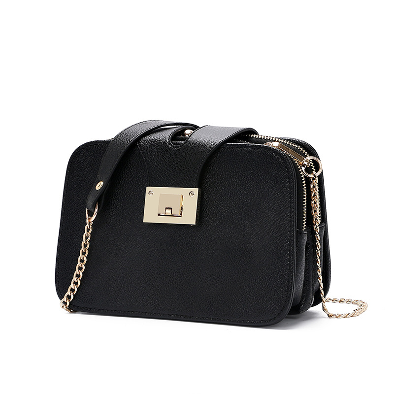 Fashion Female Black Small Purse Mini Crossbody Bags Women Messenger Bags Ladies Pu Leather Shoulder Bag Make Up Phone Chain(China)