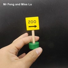 Small Model Traffic Sign Zoo Direction Wooden Building Block Kids Educational Toys For Children(China)