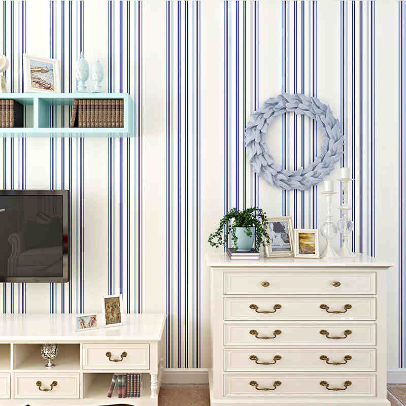 beibehang Bedroom Study Room Living Room TV Sofa Background Wallpaper Mediterranean Wide Edition Vertical Stripes<br>