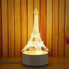 US Plug 3D Castle/Eiffel Tower/Floral/Guitar shape LED Night Light Bed Room Bedside Table Night Lamp Sleeping Light(China)