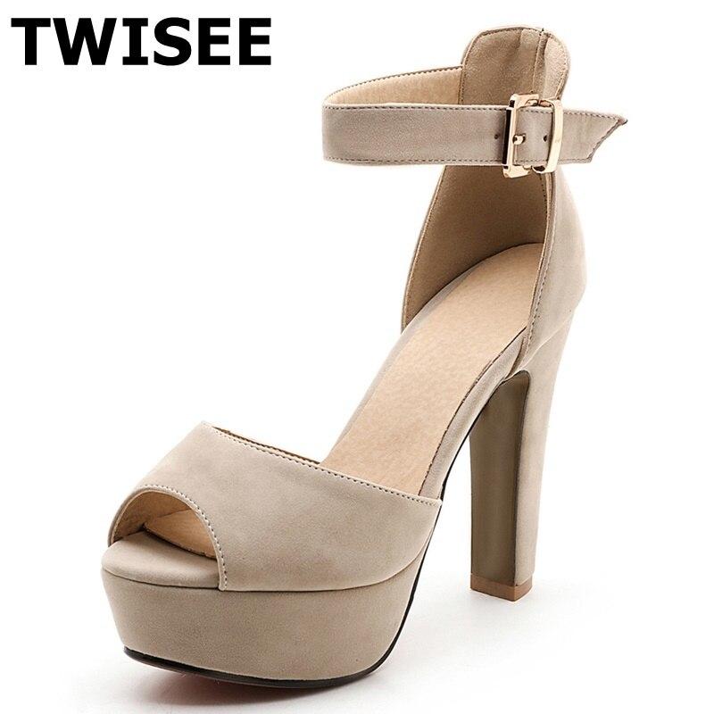 peep toe ladies women shoes sandals Buckle Strap square high heels 10 cm platform spring sandals flock leather casual shoes<br><br>Aliexpress