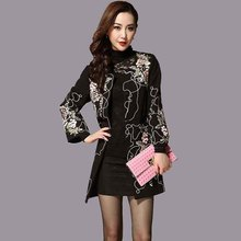 Womens Beautiful Coat 2017 New Ladies Embroidery Coats Flowers Pattern Tweed Large Plus Big Size Slim Long Embroideried Coat 4XL(China)