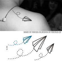 HC1079 Waterproof Fake Tattoo Stickers Paper Airplane Design Temporary Tattoo Sticker Women And Men Sexy Shoulder Flash Tattoo