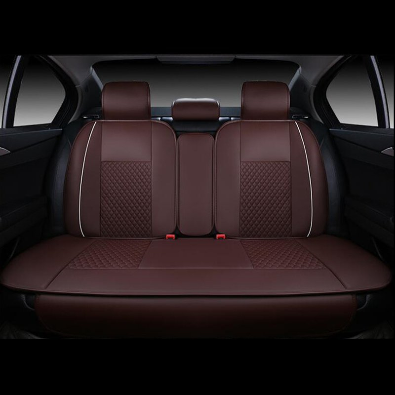 4pcs Car Seat Rear Cushion Cover PU Leather Needlework 5 Seat Car 4 Season Use Black White Black Red Beige