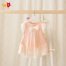 AD 2015 New Summer Baby Girl Dress Party Princes Pink Baby Dress Toddler Clothing Bow Dress Kid roupas vestido infantil menina