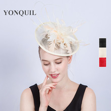 Fashion Headwear Women Fancy Feather Fascinator Hat Cocktail Church Headpiece Headband Wedding Party Hair Accessories SYF188(China)