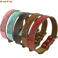 Hot Sale Global Baby Cow Leather Preventing Lost Personalized Customized Dog Pet Cat Engraved Collar(China)
