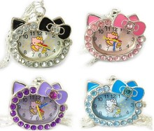 Hello Kitty Children Girl Lady Jewelry Pendant Necklace Pocket Watch Clock Xmas Gift Bag. Free Shipping!