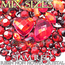 1500pcs/Lot Mix Sizes Siam Red Round Acrylic Resin Non Hotfix Flatback Rhinestones Glitters 2 3mm to 6mm for 3D Nail Art Crystal