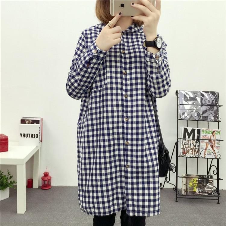 Brand Yan Qing Huan 2018 Spring Long Paragraph Large Size Plaid Shirt Fashion New Women's Casual Loose Long-sleeved Blouse Shirt 14 Online shopping Bangladesh