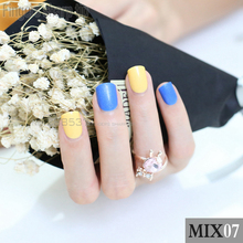 48pcs new Fashion Blue Yellow Fake Nail Short Design Artificial Nail Manicure DIY mix and match MIX07(China)