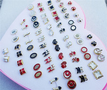 12pairs/lot Mix Styles Randomly Cute Small Enamel Black White Red Stud Earrings Jewelry For Children Girls
