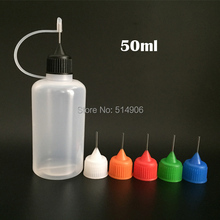 500pcs/lot, 50ml Empty Needle bottle LDPE Plastic Dropper Bottles With Colorful Needle Cap for E juice, EMS free shipping