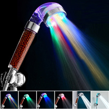 Temperature Control 7 Color LED Light Shower Head Home Bathroom Faucet Accessories Filter Bath Nozzle SPA Anion Glow Water Saver
