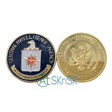 100pcs Wholesale US Central Intelligence Agency Coin Colorful Pure Gold Plated Coin CIA Challenge Coin New Military Metal Coin