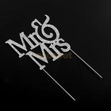 Mr&Mrs Romantic Silver Crystal Cake Topper Wedding Party Top Letter Decor