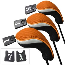 3Pcs Soft 1 3 5 Wood Golf Club Driver Headcovers Head Covers Set - Orange Black(China)