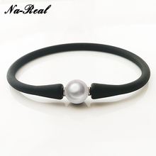 Na Real Trendy Latest Quality Silica Gel Genuine Big Fresh Water Pearl Spring Bracelet Bangle Fine Pearl Jewelry For Women Gift(China)