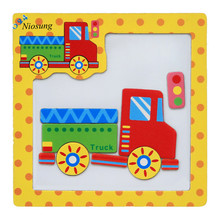 Wooden Magnetic Puzzle Educational Developmental Baby Kids Training Toy(China)