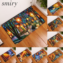 Smiry light thin soft flannel water absorption door mats beautiful modern colorful famous scenic pattern rugs durable foot pads(China)