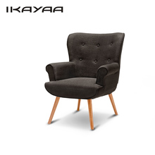 iKayaa Single Sofa Linen Fabric Tufted Chair Armchair Padded Living Room Chair Upholstered Wing Back Chair for Hotel Bedroom