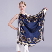 Luxury 100% Hangzhou Silk Scarf Best Gifts For Ladies 90x90cm Square Foulard Soie Femme Floral Print Grade 5A Women Scarf 610113(China)