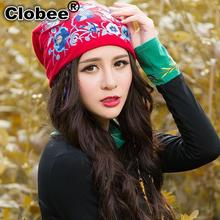 Ethnic skullies beanies for women autumn winter Mexico style original designer red blue yellow embroidery hat beanies