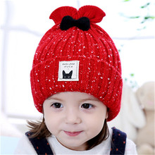 Kids Autumn & Winter Baby Beanie Hat Cute Bow-knot Protects Ear Cap Fish Tail Design Handmade Crochet Knitted Hat Girl photo(China)