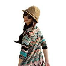 Menina Mulher Beleza Estilo Listrado Colorido Palha Praia Verão Sol Chapéu  Panamá Dobrável Acessórios de Pano 394a20ca3b5