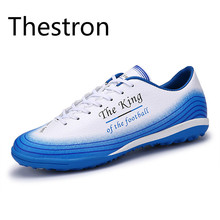 Thestron Football Shoes Men Women Turf Soccer Shoes Indoor Soccer Shoe Cheap Blue White Red High Quality Sneakers Free Shipping(China)