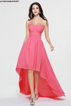 Fashionable Short Front and Long Back Sweetheart Pleat Top Asymmetrical Hot Pink Bridesmaid Dresses