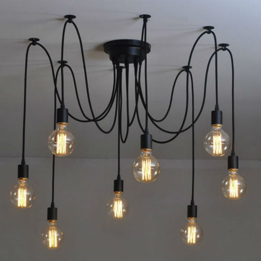 6/8 Heads Vintage Pendant Light Amercian Vintage Black Pendant Lamp E27 40W Retro Pendant Lights Living Room Kitchen Dining Room<br>