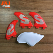 FREE shipping fiberglass and honeycomb RED standard Thruster tri fin Set (3) FCS M G5 surfboard fins(China)