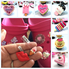 4PCS/SET High Quality Cakes Ice Cream Shoe Charms Shoe Accessories Shoe Buckles Fit Bracelets With Holes Gift,Kids Party Gift(China)