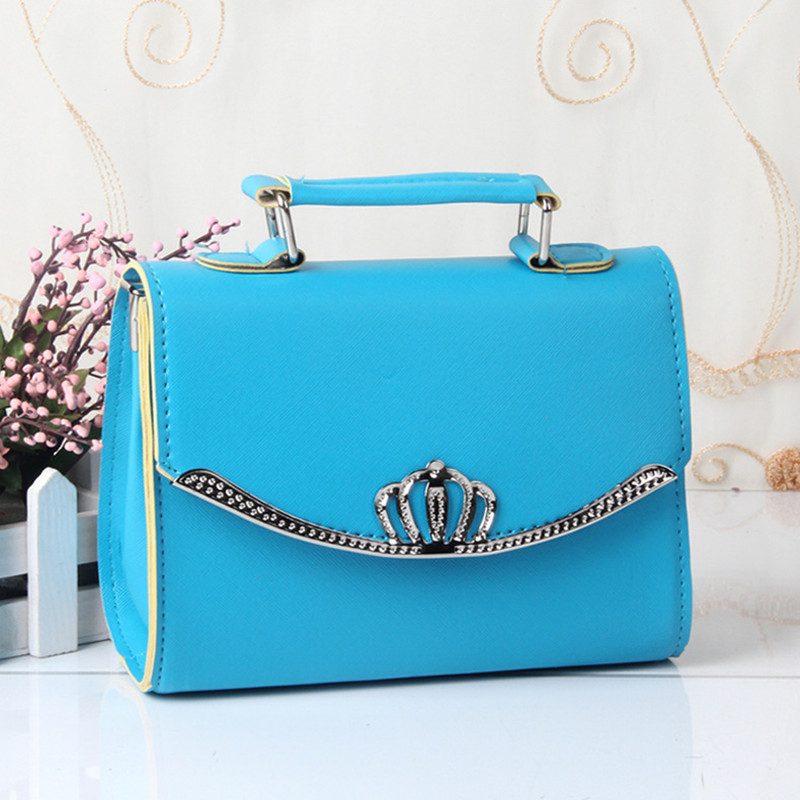 Fashion PU Women Shoulder Bag Clamshell High Quality Shell Bag Handbag Crown Crossboday Messenger Sky Blue<br>
