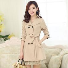 Plus Size XXXL Trench Coat for Woman 2016 Fashion Turn-down Collar Slim Cotton Double Breasted Spring Woman Overcoat